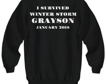 "Winter Storm Grayson Adult Sweatshirt -""I Survived Winter Storm Grayson January 2018"" - 5 COLORS! Adult Sizes"