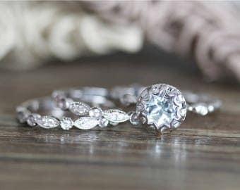 14k White Gold 7mm Round Cut Engagement Ring Set Aquamarine Ring Set Diamond Engagement Ring set Aquamarine Wedding Ring Set