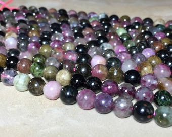 6mm Multi color Tourmaline Gemstone Round 6mm Loose Beads 15.5 inch Full Strand, Multi color Tourmaline Beads, Tourmaline Beads