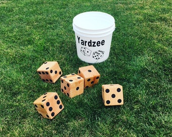 Yardzee,Yard Dice Game,outdoor yard game,outdoor games,yard games,family games,Games,dice,wooden dice,picnic games,camping games