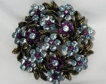 Vintage Blue and Purple Flower Brooch Pin Lot #36