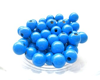50 wooden pacifier clip 8 mm - Royal Blue beads