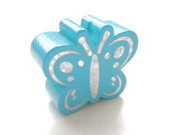 Butterfly Glitter - Turquoise wooden bead