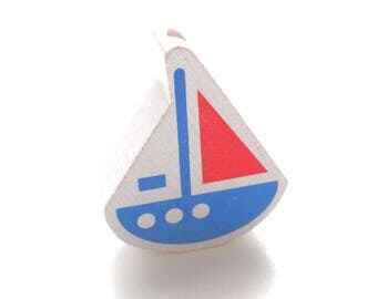 White boat, Royal Blue & red wooden bead