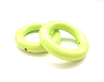 50mm lime green wooden ring