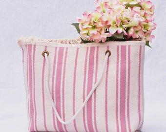 Large Market Tote - Pink and Beige Stripes, Global Style, Farmers Market Tote, Beach Bag, Boho Bag, Book Bag, Market Bag