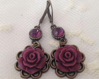 Pink Clip Earrings and Xilon Chaton swarovski elements Amethyst.