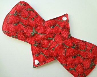 "10"" Regular Flow - Red Strawberry Pad- Waterproof Reusable Cotton Cloth Sanitary Pad"