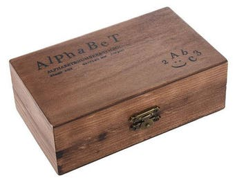 Alphabet Stamp Set - Set of 70 - Upper and Lower Case - Vintage Wooden Box