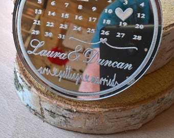 Save the Date Fridge Magnet from Mirror Acrylic. Calendar Save the Date Magnets Personalised with Free Envelopes