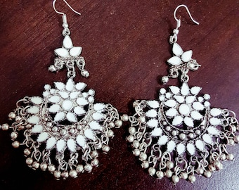 White Enamel Silver oxidised long chandelier chandbalis party festive wear