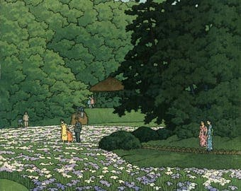 "Japanese Art Print ""Iris Field at Meiji Shrine"" by Kawase Hasui, woodblock print reproduction, Asian art, landscape, garden, flowers"