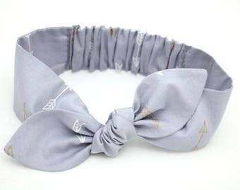 Grey Arrow headband, Womens Headband, Adult Headband, Headband for Women, Girl Headband, Headbands, Girl, Women, Headband, Gold