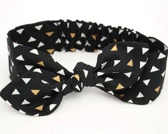 Black Triangle headband, Womens Headband, Adult Headband, Headband for Women, Girl Headband, Bow Headband, Girl, Women, Headband, Gold