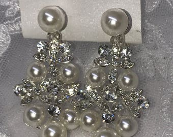 Pearl Crystal Cluster Bridal Earrings Clip on