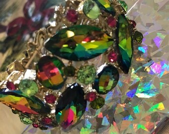 Green  Vitrael Marquis Cut Crystal Bracelet