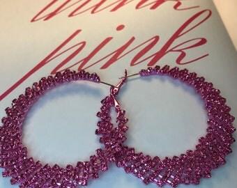Pink Sparkly Crystal Large Hoop Pierced Earrings