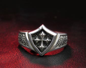 Gothic men ring, Gothic cross, sterling silver ring for men, Gothic jewelry, gift for men, occult ring, biker ring, goth ring, oxidized