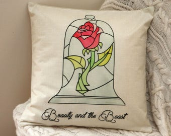 princess belle beauty and the beast stain glass rose inspired cushion cover 45 by 45 cm beautiful gift