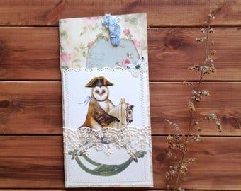 Traveler's Notebook insert with owl / refills/  journal
