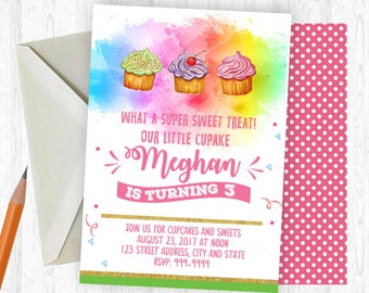 Cupcake Birthday Invitation, Cupcake Invitation, Cupcake Invite, birthday invite, Birthday Party, Printable Invitation, Cupcake