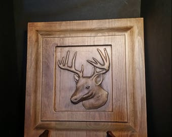 Elk head carving