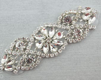 Small Rhinestone Applique, Silver crystal motif, Hotfix Applique, luxury bridal applique, bridal rhinestone trim, beaded motif//M021