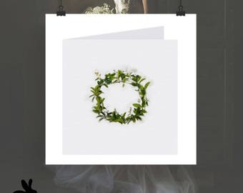 """Watercolour Cards - """"Modern Love"""" Small Green Wreath With Flowers"""