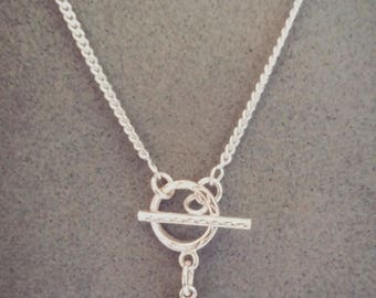 sterling silver toggle clasp heart necklace