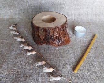 Tree Candle Holder, Candlestick Holder, Tea Light Holder, Church Candle Holder, Rustic Candle Holder, Wooden Candle Holder, Wedding Decor