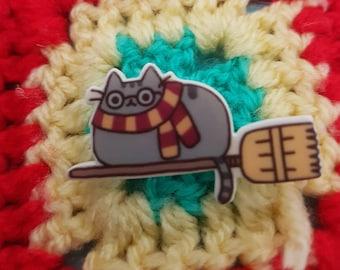 Pusheen as Harry Potter brooch/ pin badge