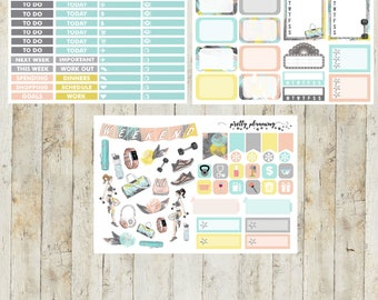 Get Fit Mini Weekly Planner Sticker Kit (Pretty Planning Stickers for Erin Condren Life Planner, Happy Planner)