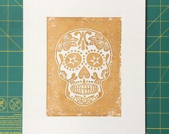 Sugar Skull Linocut Print