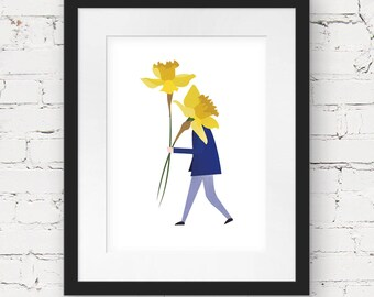 daffodil art print, instant download printable art, nursery art print, kids wall art printable, kids printable art, illustration art print
