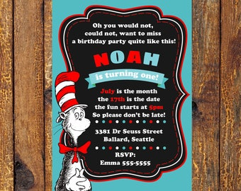 24hrs Turn around time, FREE thank you card, Cat in the hat invitation Dr Seuss, Dr Seuss 1st birthday party Cat in the hat party invite