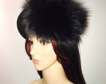 Fox fur French beret