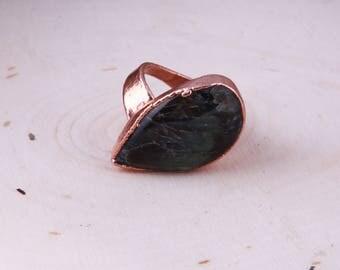 Labradorite Asymmetrical Copper Ring Size 7