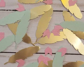 Table Scatter- Two Wild One Party Young Wild and Three Birthday Tribal Party Decorations Feather Decor Gold and Pink Boho Baby Bridal Shower