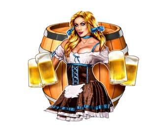 Beer maiden holding drinks decal, drinking sticker