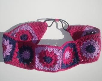 Women's Crochet Headband,  Cotton Pink Floral Headband, Girls Headband, Hair Accessories, Granny Square Headband, Hippie Headband