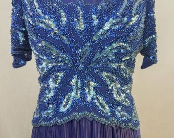 Gorgeous Blue Vintage Beaded and Sequined Gown