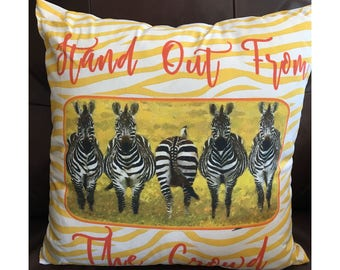Stand Out From the Crowd Yellow Zebra Pillow