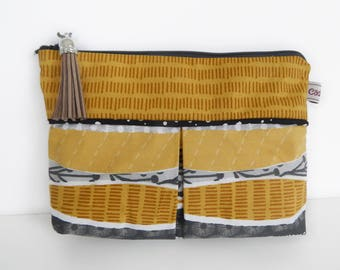 tote bag or makeup case in black/grey/mustard yellow printed cotton gusseted with tassel