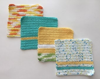 Crochet Dishcloths/ Washcloths - Set of 4