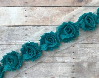"Mini Teal shabby flowers, 1.5"" shabby rose trim, Chiffon flower trim Wholesale flowers, Shabby Chic, by the yard, Headband supplies"