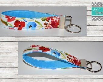 Watercolor/Floral, Keychain, Key Fob, Wristlet Keychain, Wristlet Key Fob