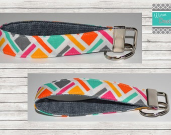 Geometric Pink/Yellow/Mint/Orange/Grey, Multi color, Keychain, Key Fob, Wristlet Keychain, Wristlet Key Fob