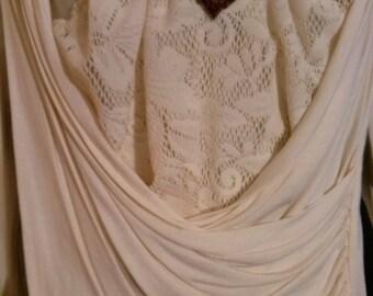 Shirt sleeves wrap long ecru color