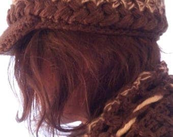 Set hand-made in crochet, shaped CAP in angora and acrylic hat and scarf