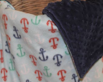 Very Cute Nautical Anchor Baby Blanket